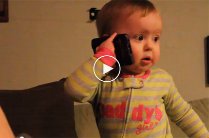 Baby Talks to Dad on the phone, he is so cute!